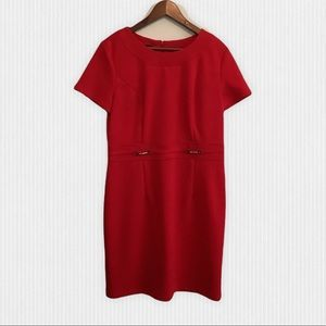 Red Short Sleeve Shift Dress Gold Accents Size 14